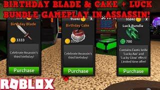 *BRAND NEW* BIRTHDAY BLADE + BIRTHDAY CAKE & LUCK BUNDLE IN ROBLOX ASSASSIN! (GAMEPLAY)