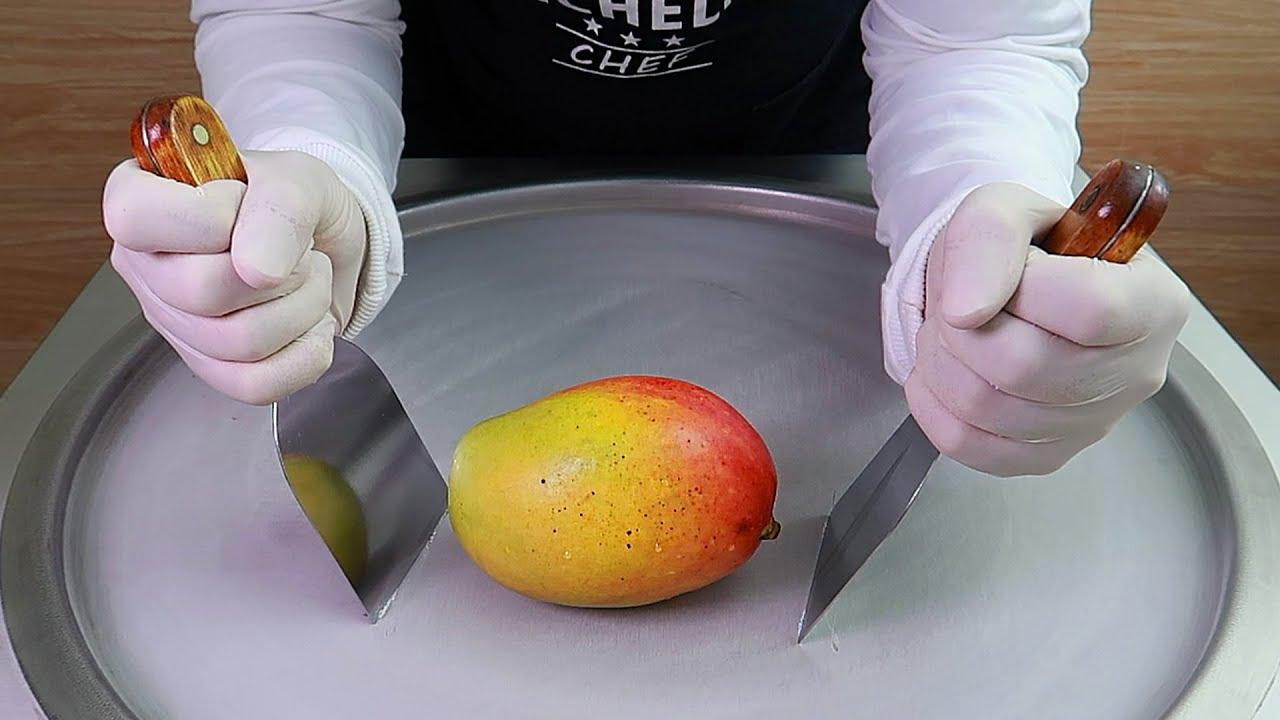 Download Mango ice cream rolls street food - ايس كريم رول مانجو