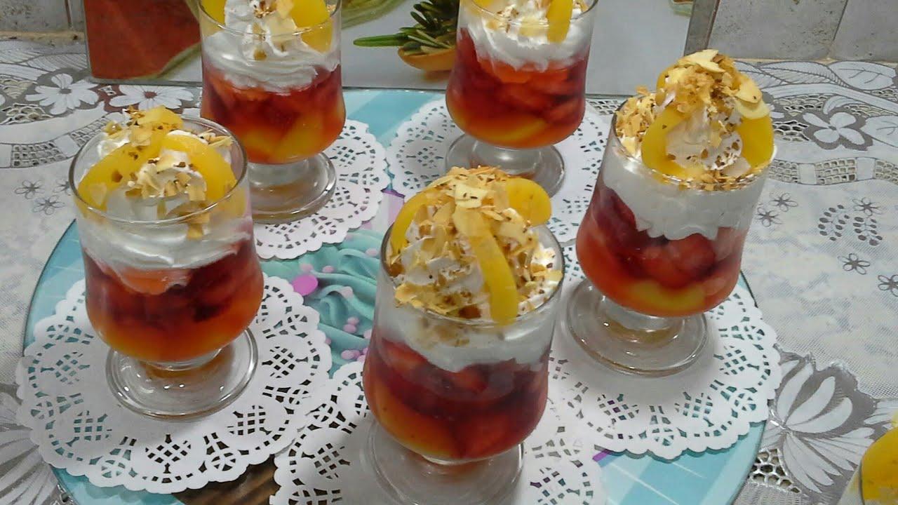 تحلية بالفراولة سهلة وراقية من وصفات رمضان من مطبخ سلسبيل /Pêches aux fraises / selsabil cuisine