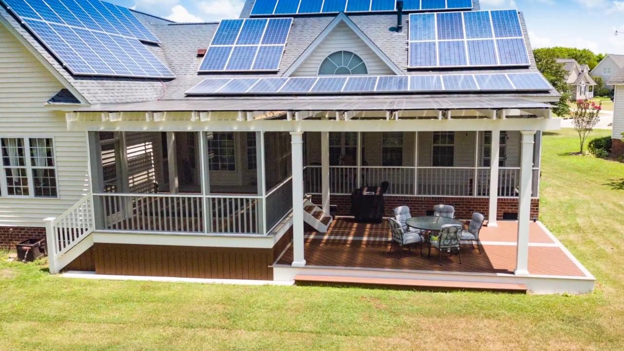 solar panels on a trex pergola w green power of north carolina