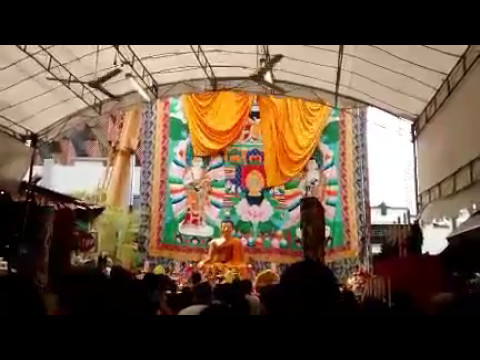 Vesak Day: The unveiling of the thangka at the Thekchen Choling Tibetan Buddhist temple