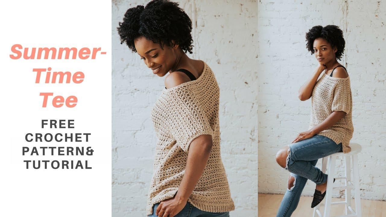 Summertime Tee - A Breezy Crochet Top *FREE CROCHET PATTERN AND ...