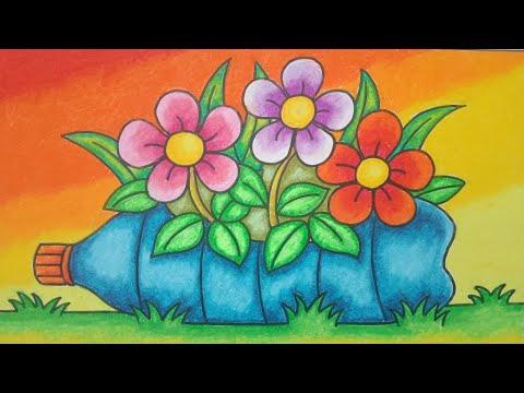Menggambar Bunga Menggambar Bunga Dalam Pot Botol Plastik Gradasi Warna Youtube