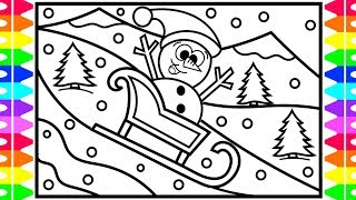 How to Draw a CUTE SNOWMAN for KIDS | Kids Sled Riding Coloring Page | Fun Coloring Pages for Kids