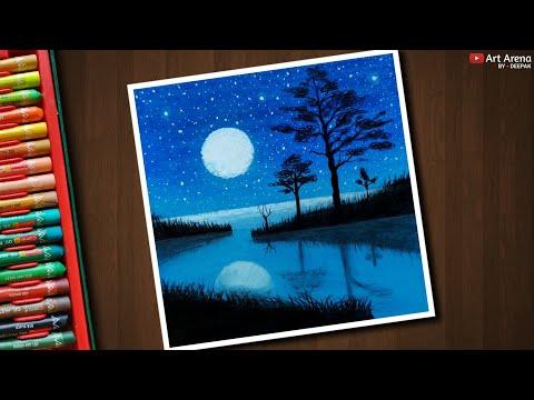 Beautiful Moonlight Landscape Drawing For Beginners With Oil Pastels - Step By Step