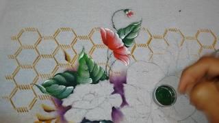 Roberto Ferreira – Pintura em Tecido – Flores do Campo – Folhas e Fundo