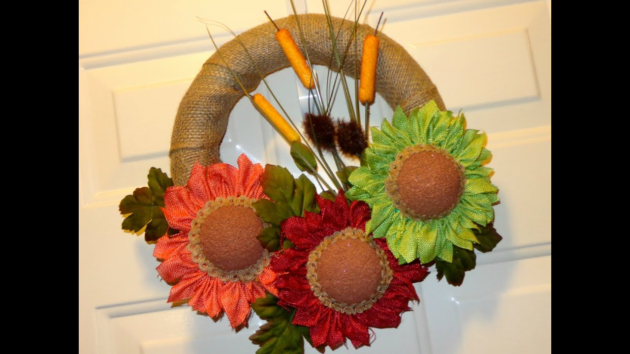 DIY Burlap Ribbon Flowers and Wreath