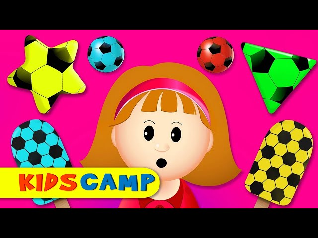 Colors for Children to Learn with Soccer Balls - Baby Ice Cream for Kids | Learn Shapes KidsCamp