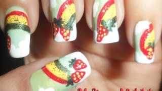 Strawberries on Rainbows and Clouds Nail Art collaboration with NailObsessionn