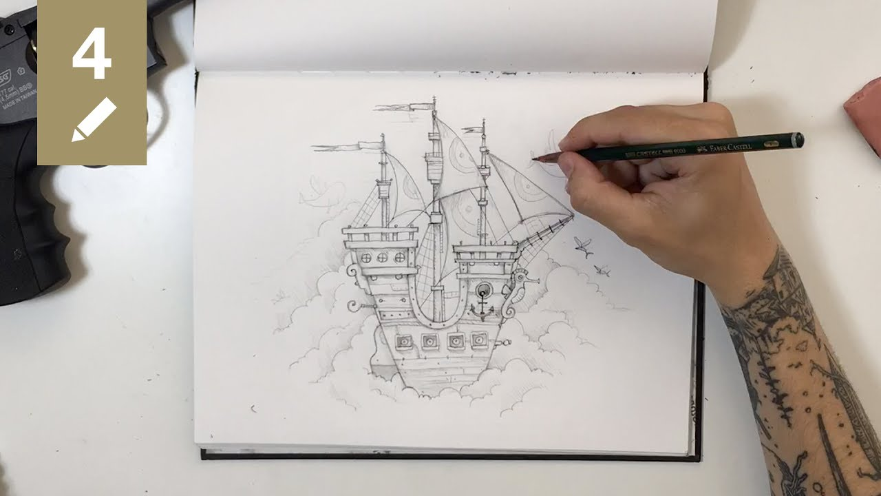 Sketchbook 04 ship in the sky pencil drawing time lapse