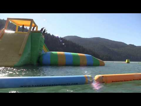 Outdoor Floating Water Park on Harrison Lake