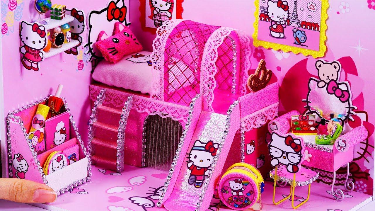 Diy Miniatures Dollhouse Room Hello Kitty Room Decor Cute766