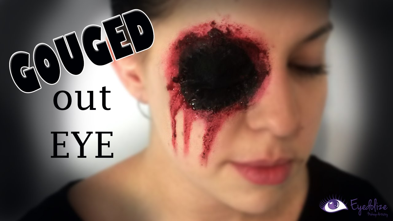 Missing Eye Halloween Gouged Eye Makeup Tutorial By EyedolizeMakeup - YouTube