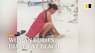 Woman allegedly buries diaper at Philippine beach