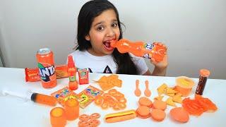تحدي يوم كامل أكل برتقالي  Mukbang Orange food