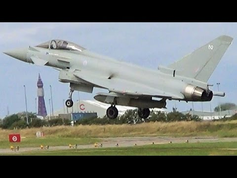 RAF Eurofighter Typhoon chases a Boeing 737 into Blackpool Airport