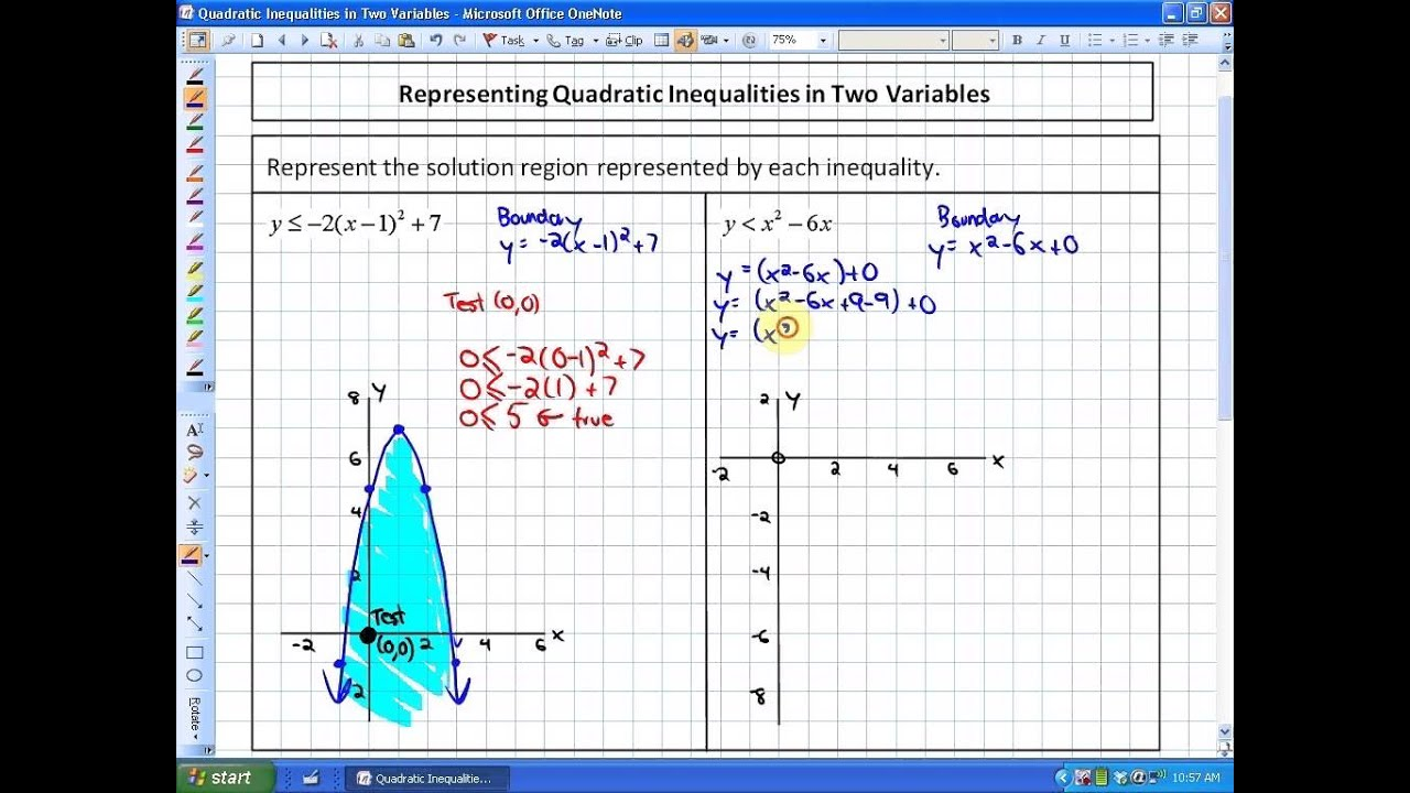 9 3 Representing Quadratic Inequalities In Two Variables