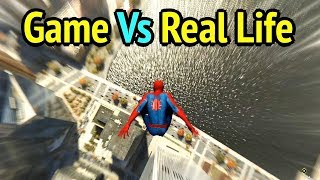 Diving Off 3 Tallest Buildings (versus Real Life) - Marvel's Spider-Man