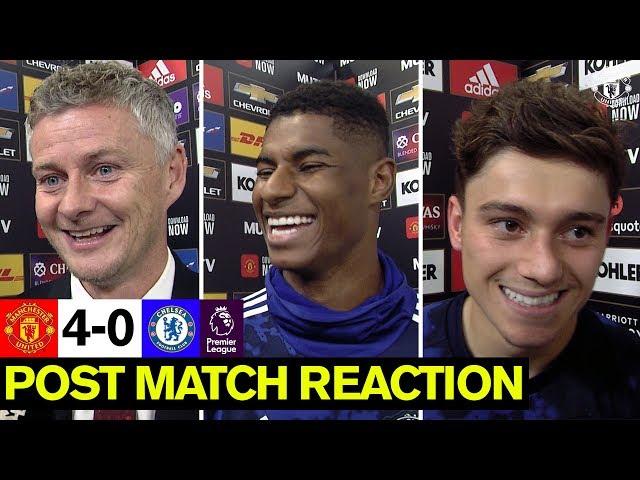 Solskjaer, Rashford and James delighted with win over Chelsea | United 4-0 Chelsea | Reaction