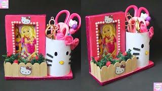 DIY Pen holder and Photo frame DIY Hello kitty Organizer DIY Desk Organizer  Teacher's Day Gift Idea