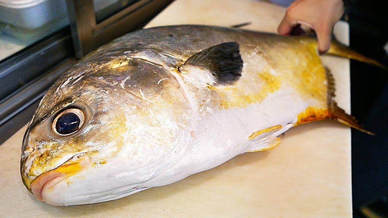 Japanese Street Food - GIANT GOLDEN POMFRET Butterfish Sashimi Okinawa Seafood Japan