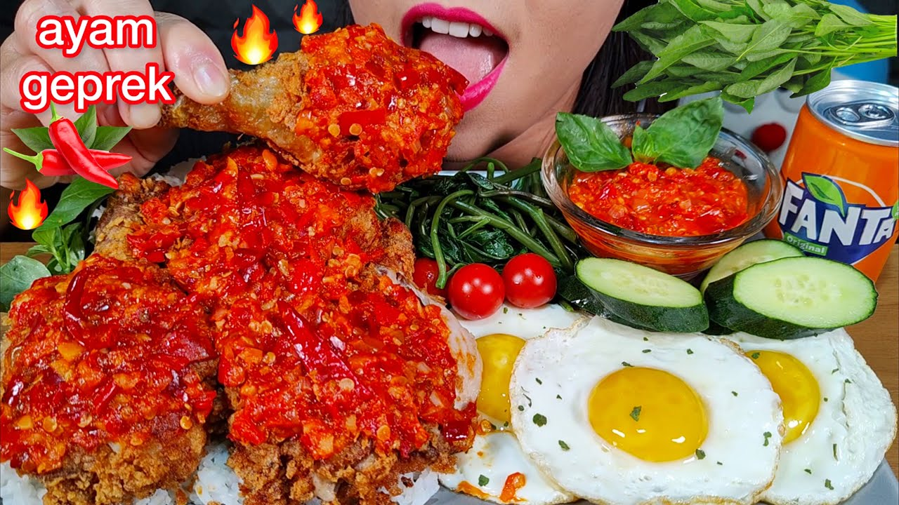 MAKAN AYAM GEPREK *SUPER SPICY FRIED CHICKEN, WATER SPINACH, RICE MASSIVE Eating Sounds