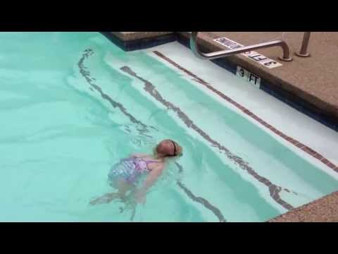 Baby Swims Across Pool
