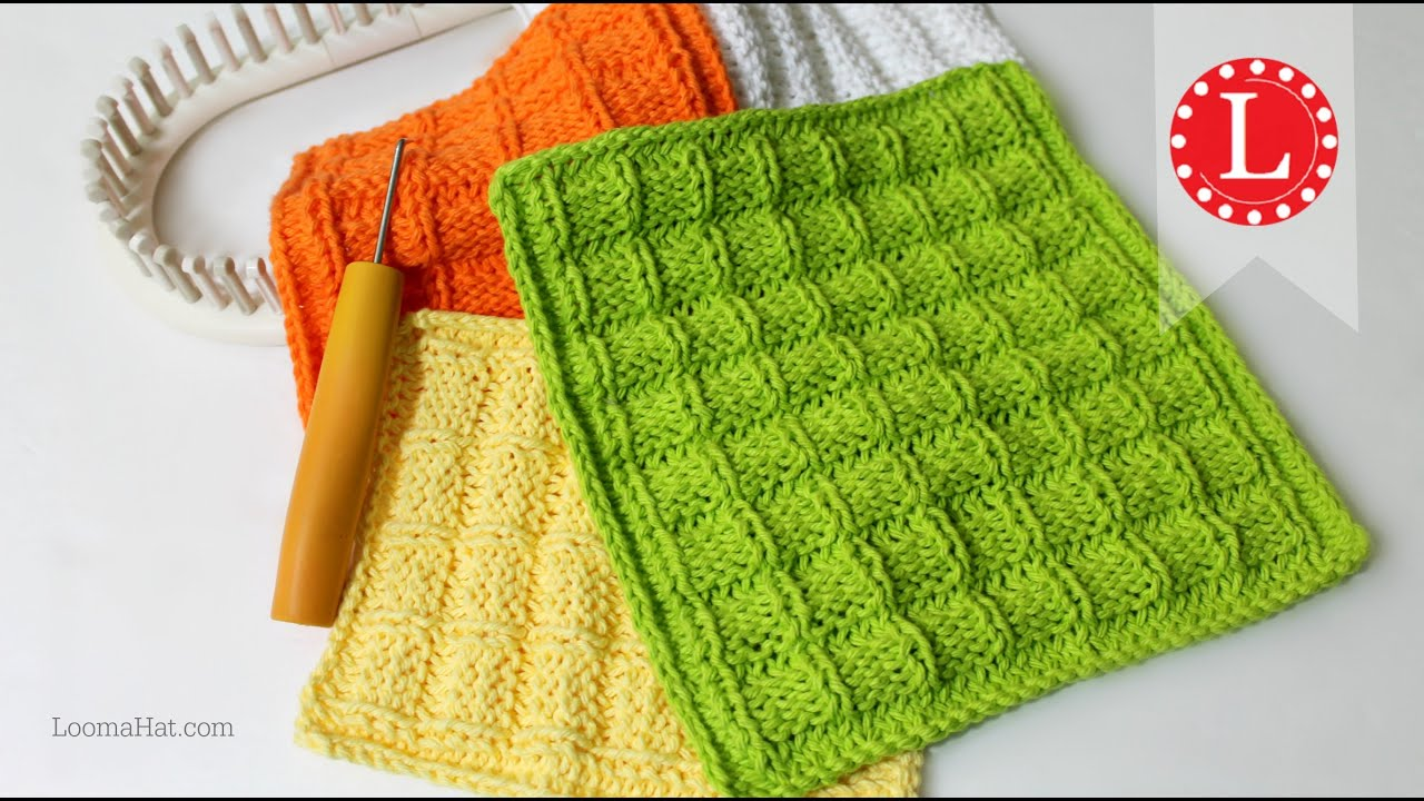 LOOM KNITTING Dishcloth Washcloth Waffle Stitch Project Pattern ...