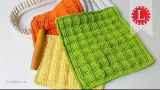LOOM KNITTING Dishcloth Washcloth Waffle Stitch Project Pattern | Loomahat