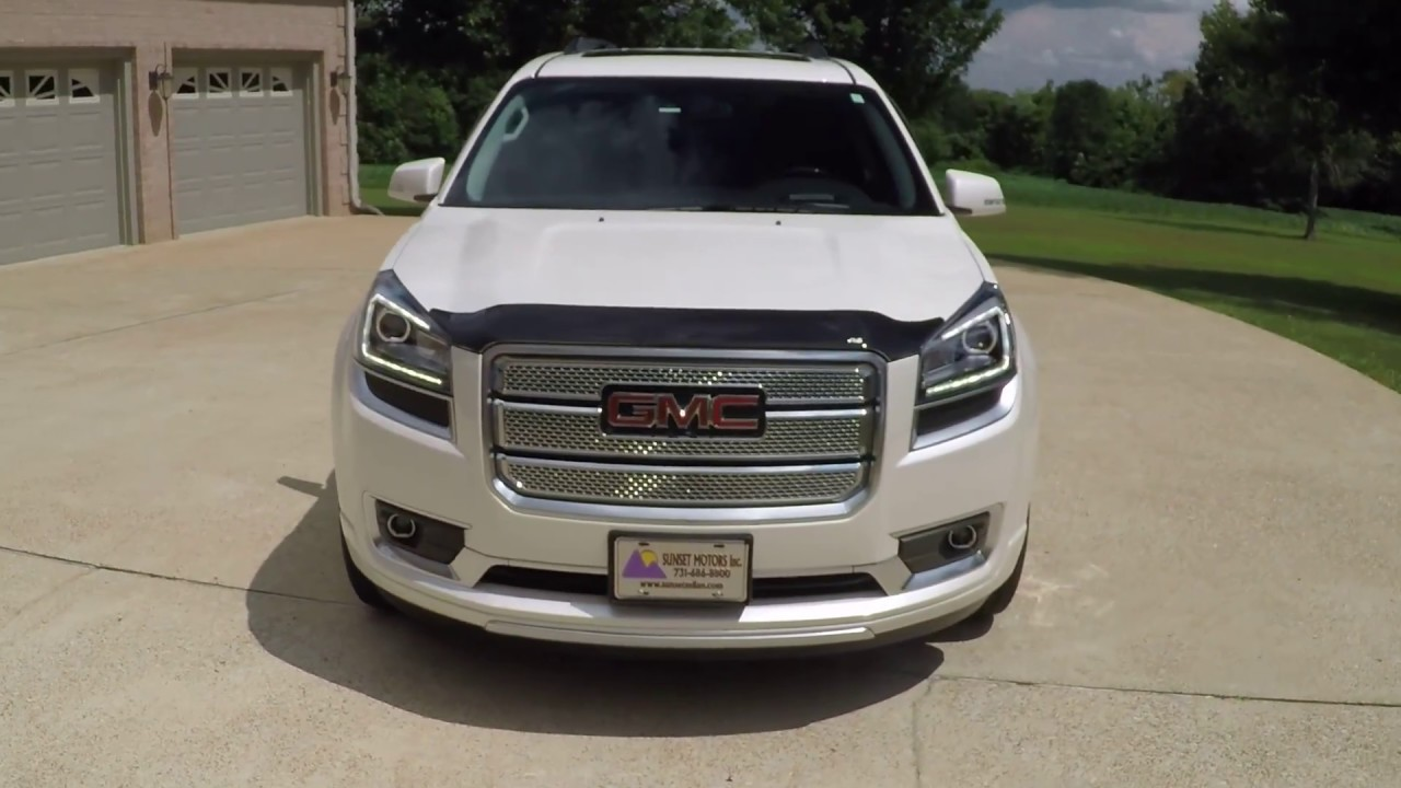 West TN White Diamond 2014 GMC Acadia Denali used for sale info www sunsetmotors com