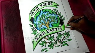 How to Draw Save Trees / Save Earth Poster Drawing for Kids