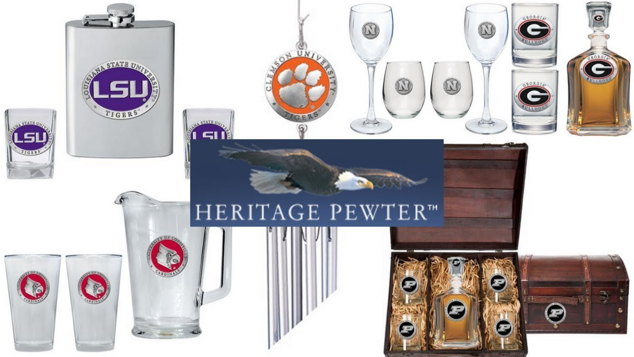 Heritage Pewter:  Team Decanter Set, Windchimes, Flasks, and Fan Gear.