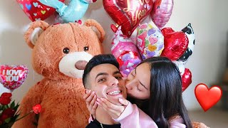 SURPRISING MY GIRLFRIEND FOR VALENTINE'S DAY!! **CUTE REACTION**
