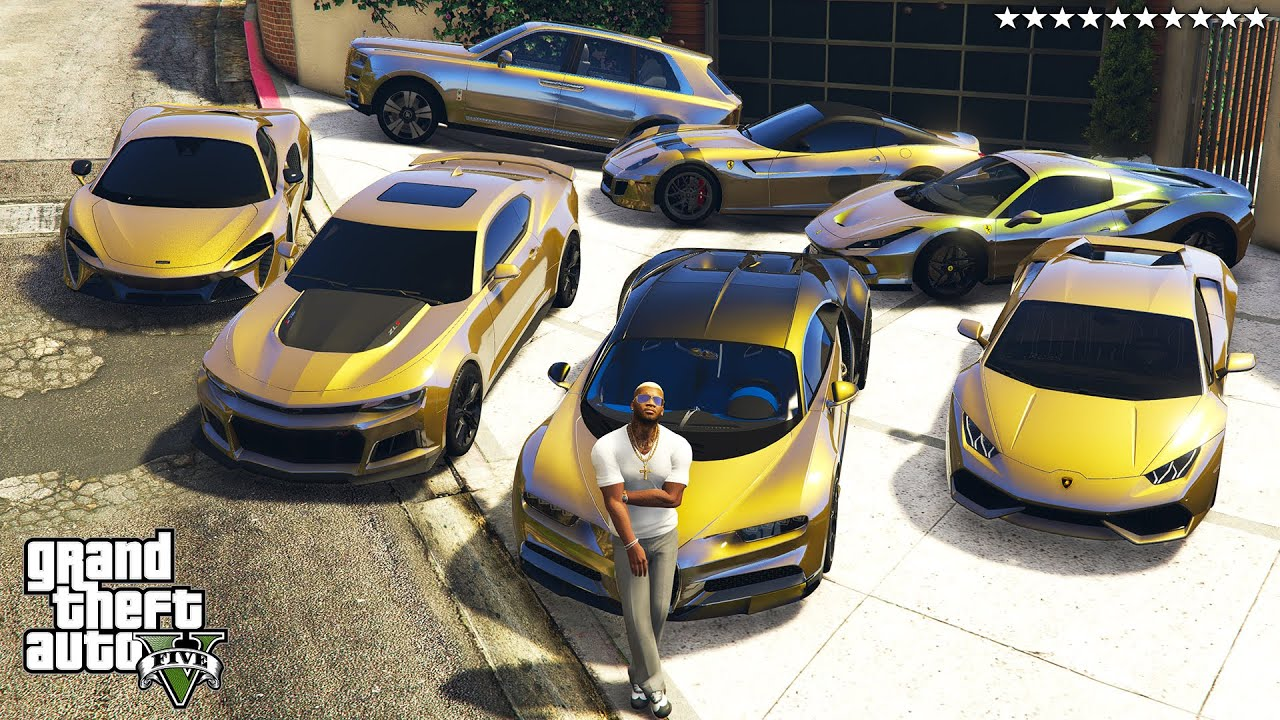 GTA 5 - Stealing GOLDEN Vehicles with Franklin! (Real Life Cars #107)