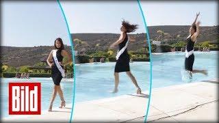Catwalk ins Wasser - Schönheitskönigin kommt vom Weg ab / fail