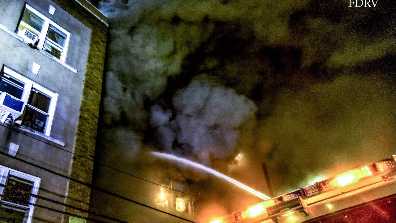 **Heavy Fire & Smoke** Massive 4 Alarm Fire Rios Through 2 Yonkers Buildings & Fireworks Explode