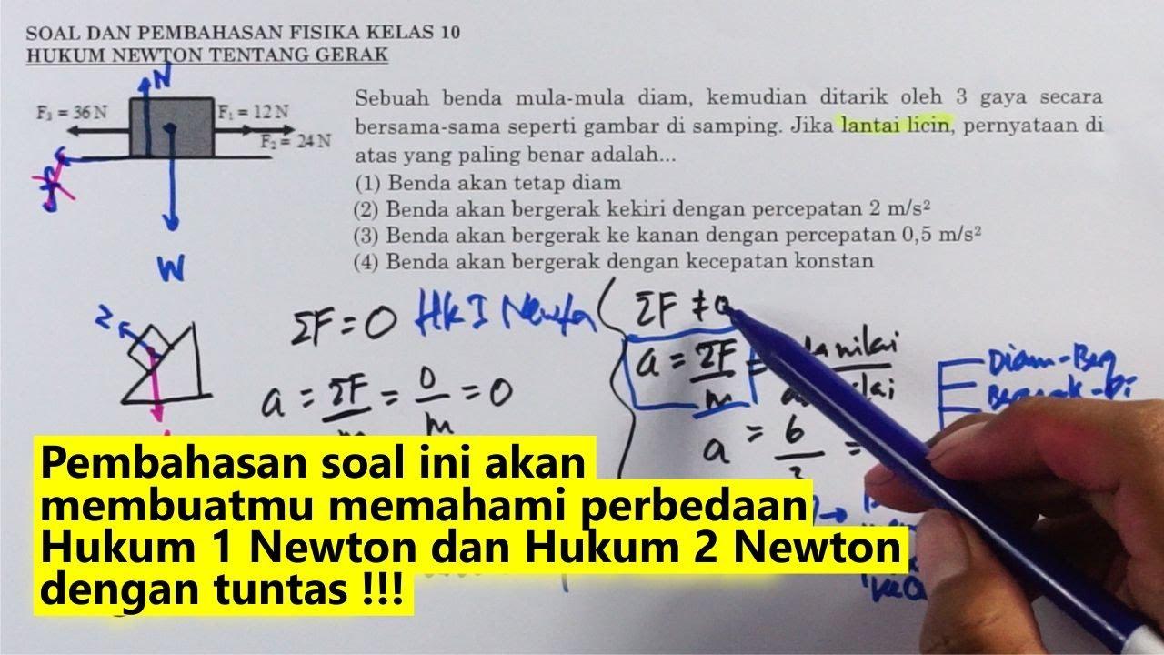 Contoh Soal Dan Pembahasan Hukum 1 Newton Youtube