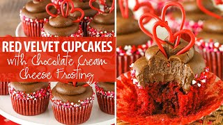 Red Velvet Cupcakes with Chocolate Cream Cheese Frosting