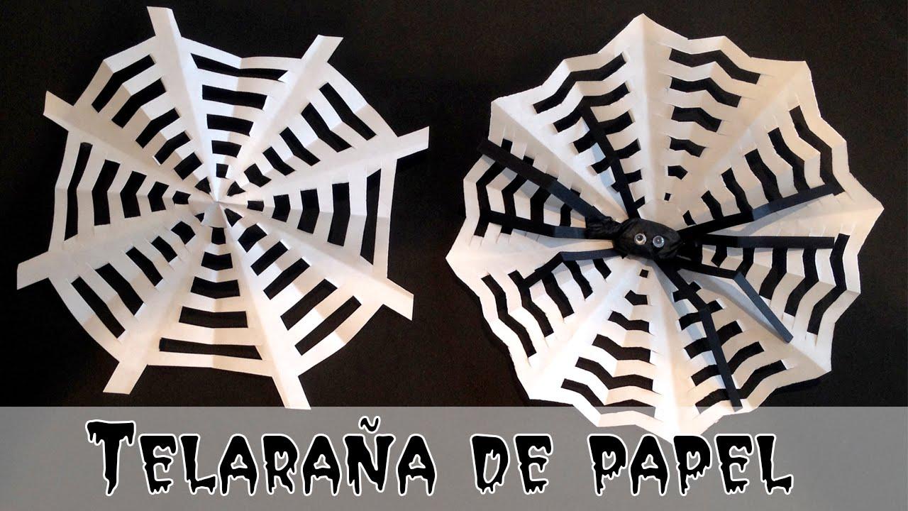 Telara a de papel manualidades de halloween youtube - Como hacer tela de arana ...