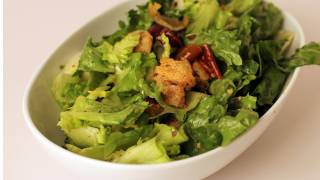 Escarole Salad With Olives And Homemade Croutons - Laura In The Kitchen Ep 258