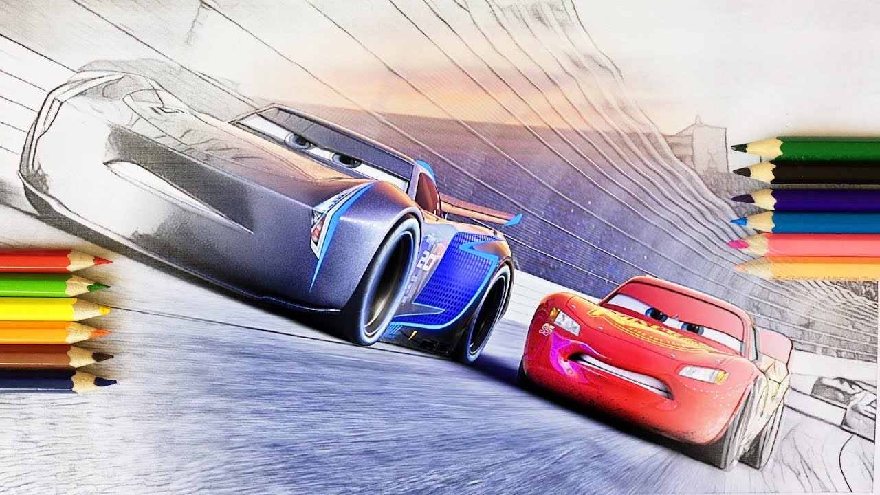 Cars 3 Jackson Storm And Lighting Mcqueen Coloring Pages For