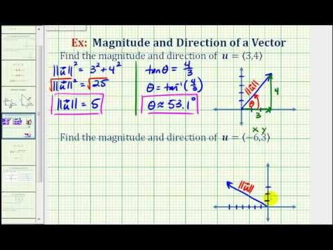 Ex: Find the Direction and Magnitude of a Vector in Component Form ...