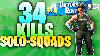 34 Kills Solo Squads Season 5 World Record Gameplay | Fortnite Battle Royale (Xbox) - Tendai