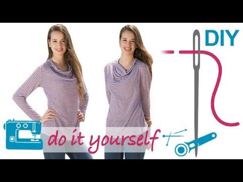 DIY Shirt nähen für Anfänger – Wasserfallkragenshirt – Zierstoff ...