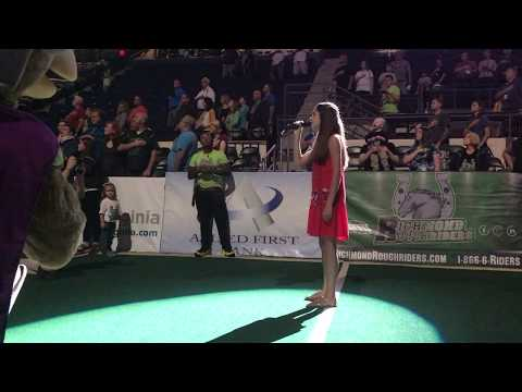 14 year old Sophia Nadder Sings National Anthem at Richmond Roughriders Game (5.20)