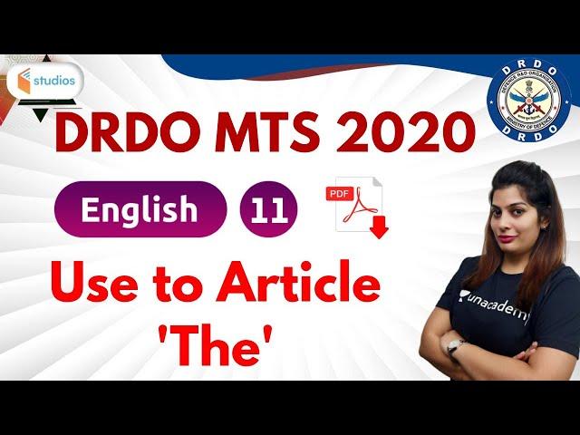 10:00 PM - DRDO MTS 2020 | English by Akanksha Ma'am | Use to Article 'The'