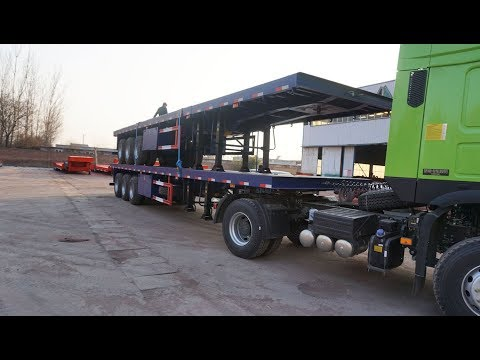 Extendable 40ft platform trailer 60 tons cargo ship flat bed trailer container carrier