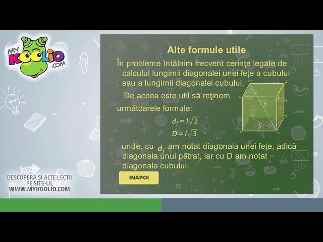 Lecție demo clasa a VIII-a, matematică, Paralelipipedul dreptunghic, cubul