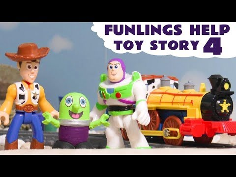 Funny Funlings help Toy Story 4 toys Buzz Woody and Jessie find new friends on toy train TT4U