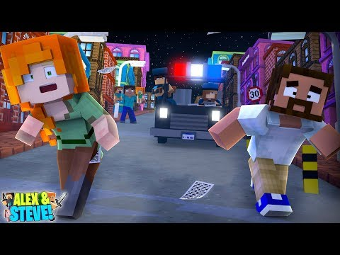 ALEX IS A FUGITIVE ON THE RUN FROM THE POLICE!! Minecraft LIFE of ALEX & STEVE